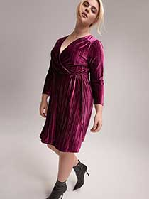 adc5907a4ddd5 A-Line Long Sleeve Faux-Wrap Pleated Velvet Dress - Michel Studio