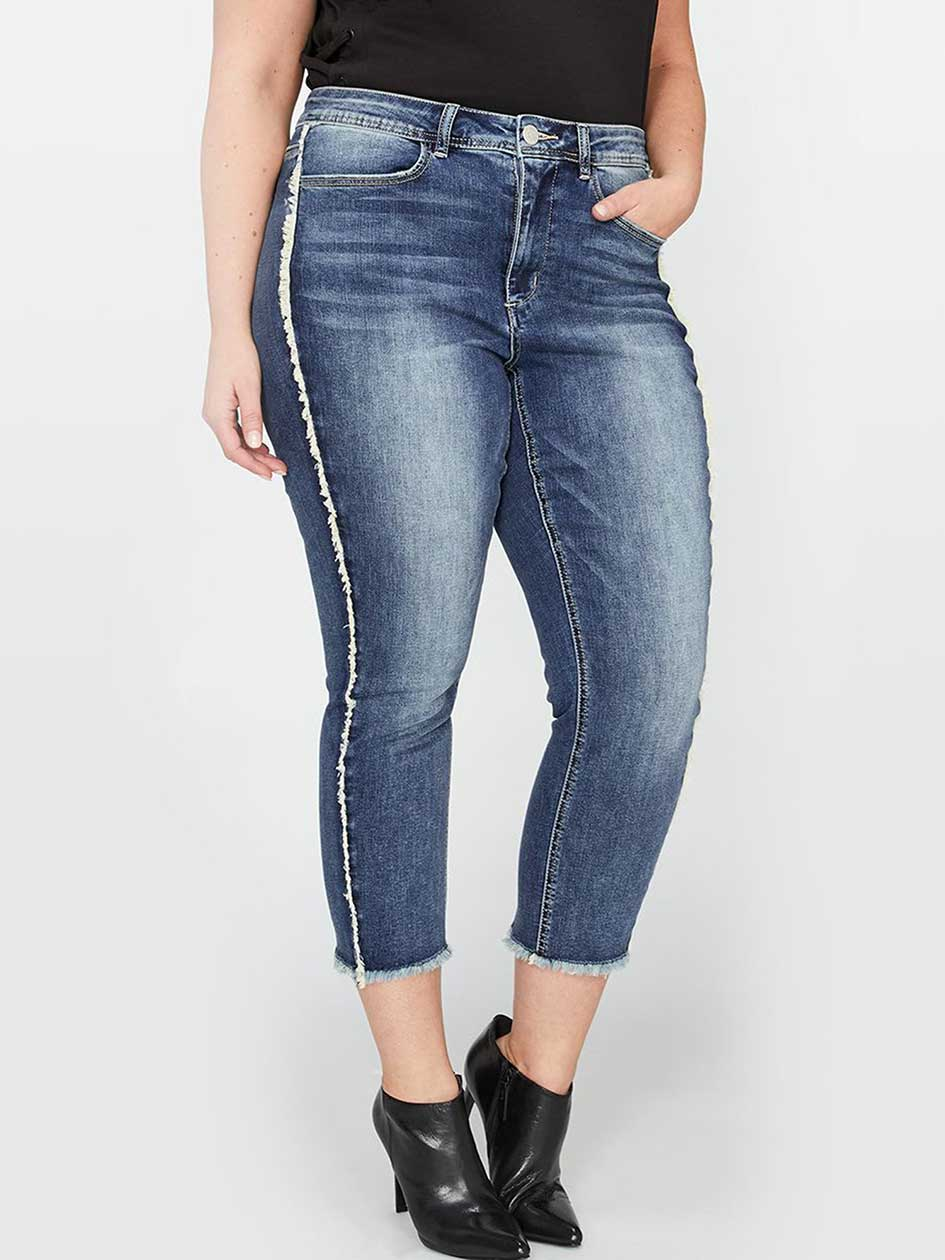 L&L Authentic Skinny Crop Jean with Exposed Seams