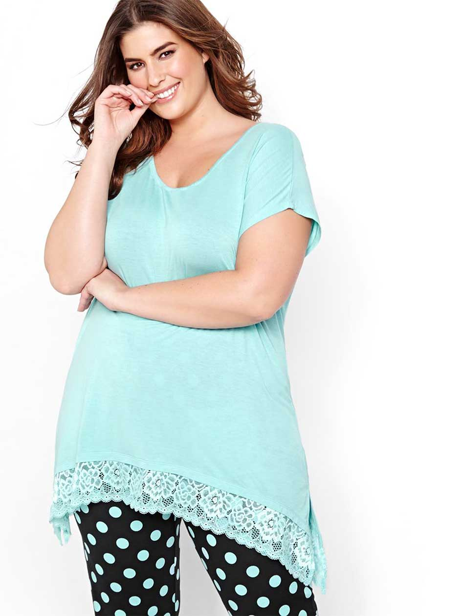 Relaxing PJ Top with Lace Hem - Déesse Collection