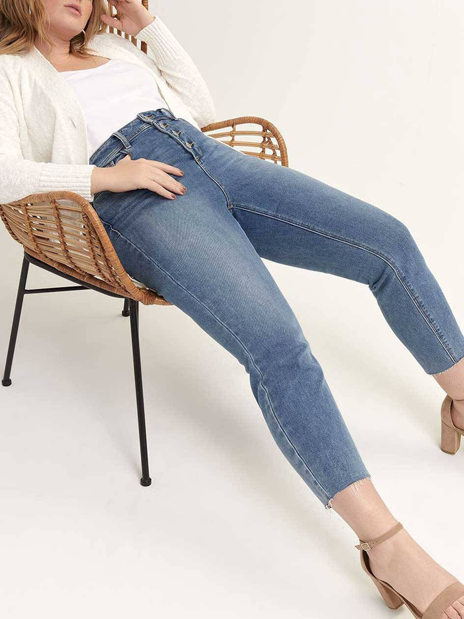 Exposed Fly High Waist Slim Jeans - L&L