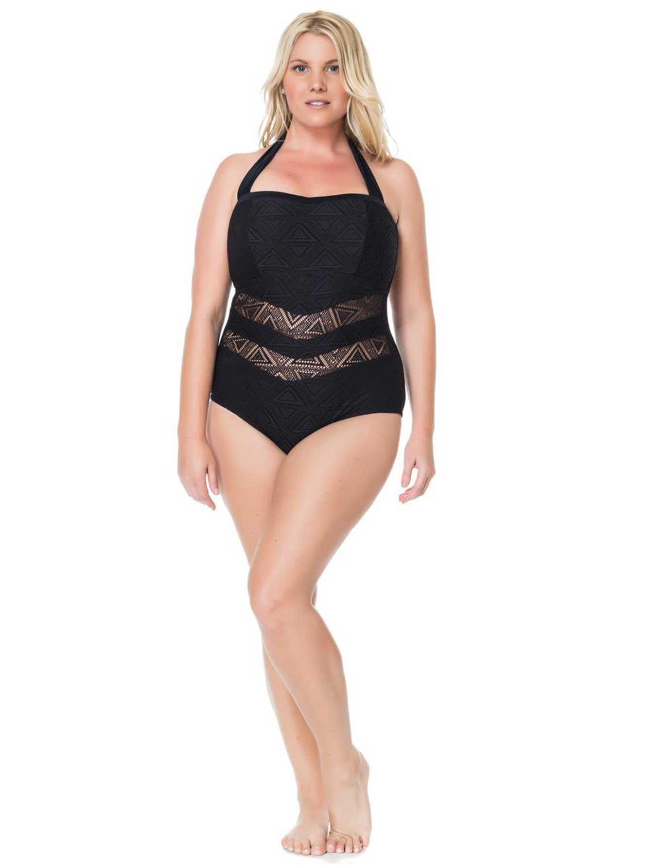 9ec1cb9be14 Online Exclusive - Jessica Simpson Bandeau Swimsuit   Addition Elle