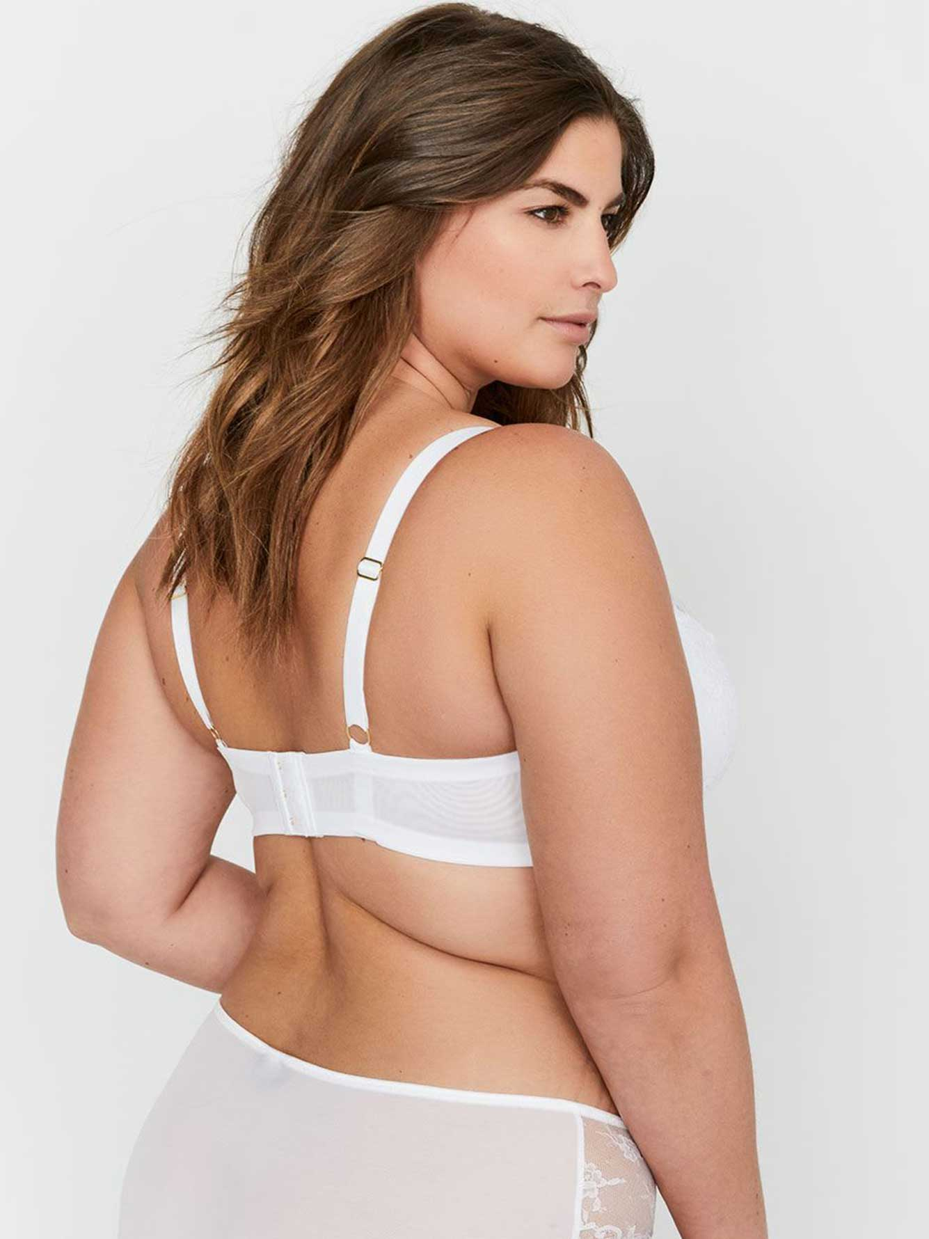 Ashley Graham Micro Fiber & Lace Diva Demi Cup Bra