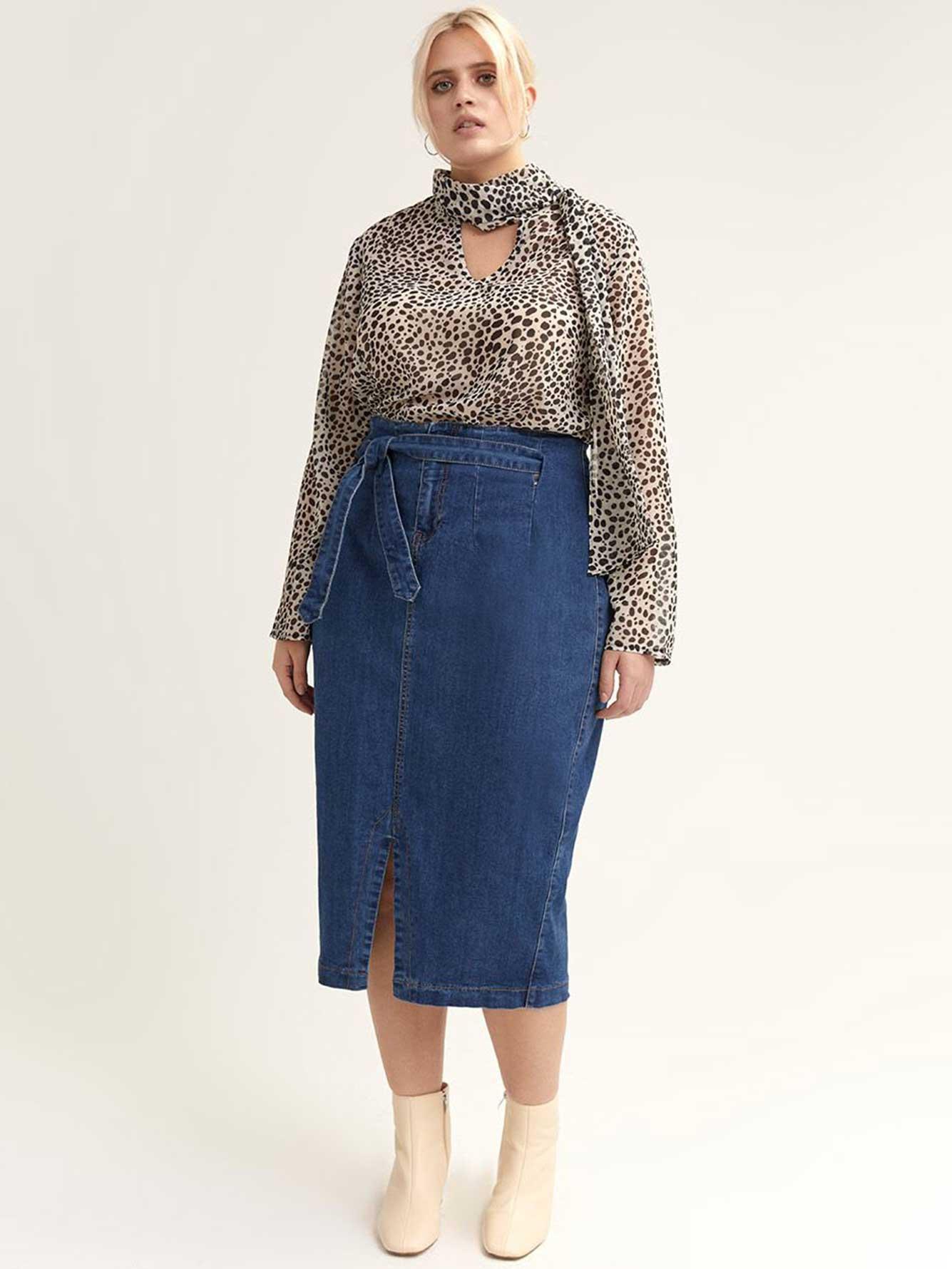 9780751f2a Long Denim Skirt with Paper-Bag Waist - Lost Ink | Addition Elle