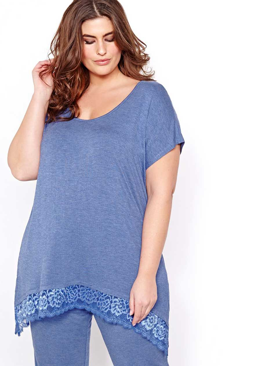 Blue PJ Top with Lace Hem - Déesse Collection