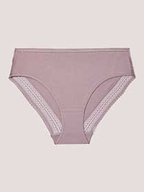 High Cut Cotton Panty with Lace - Déesse Collection