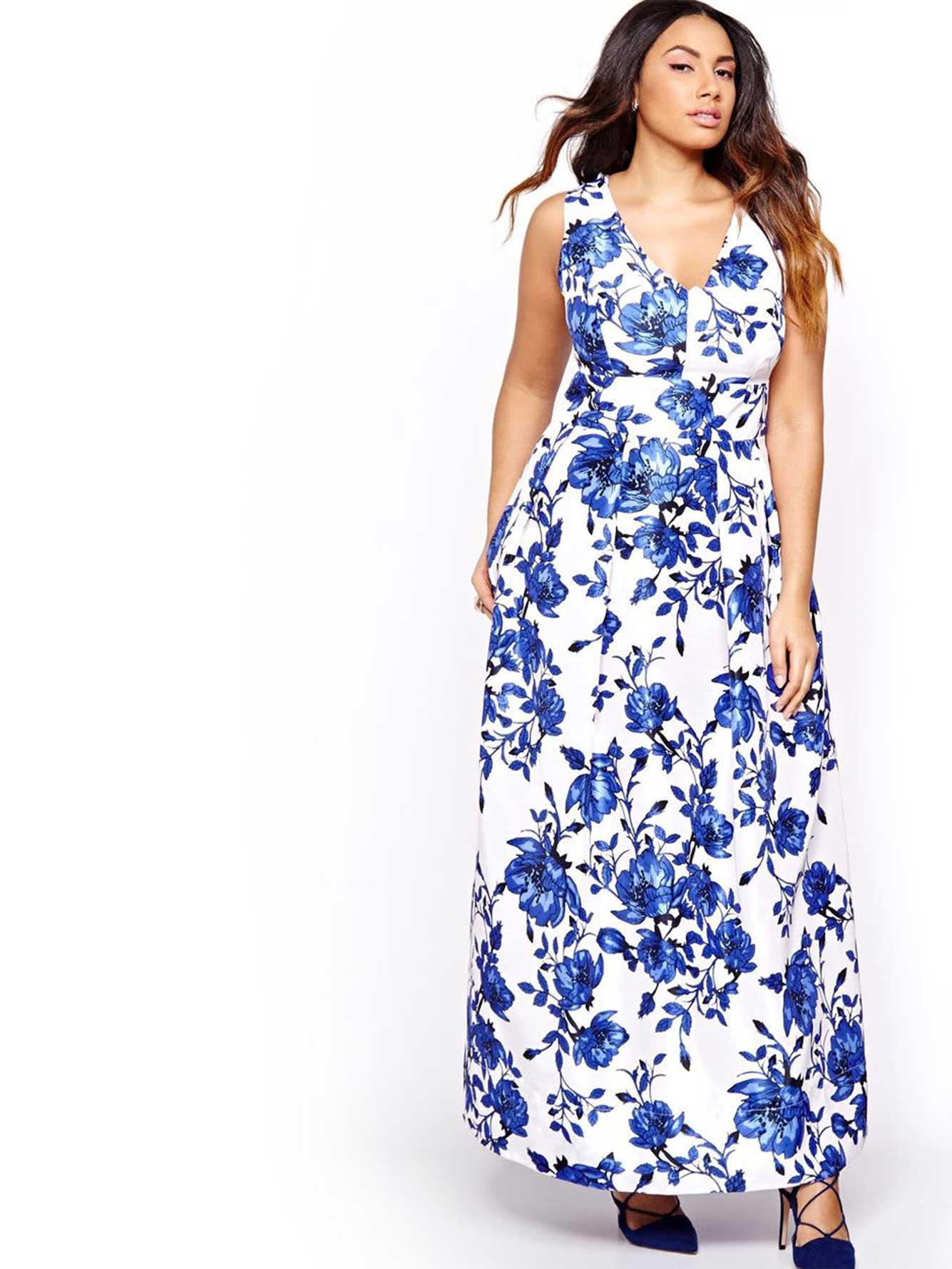 2fd52df545 Sangria Blue Flower Print Maxi Dress
