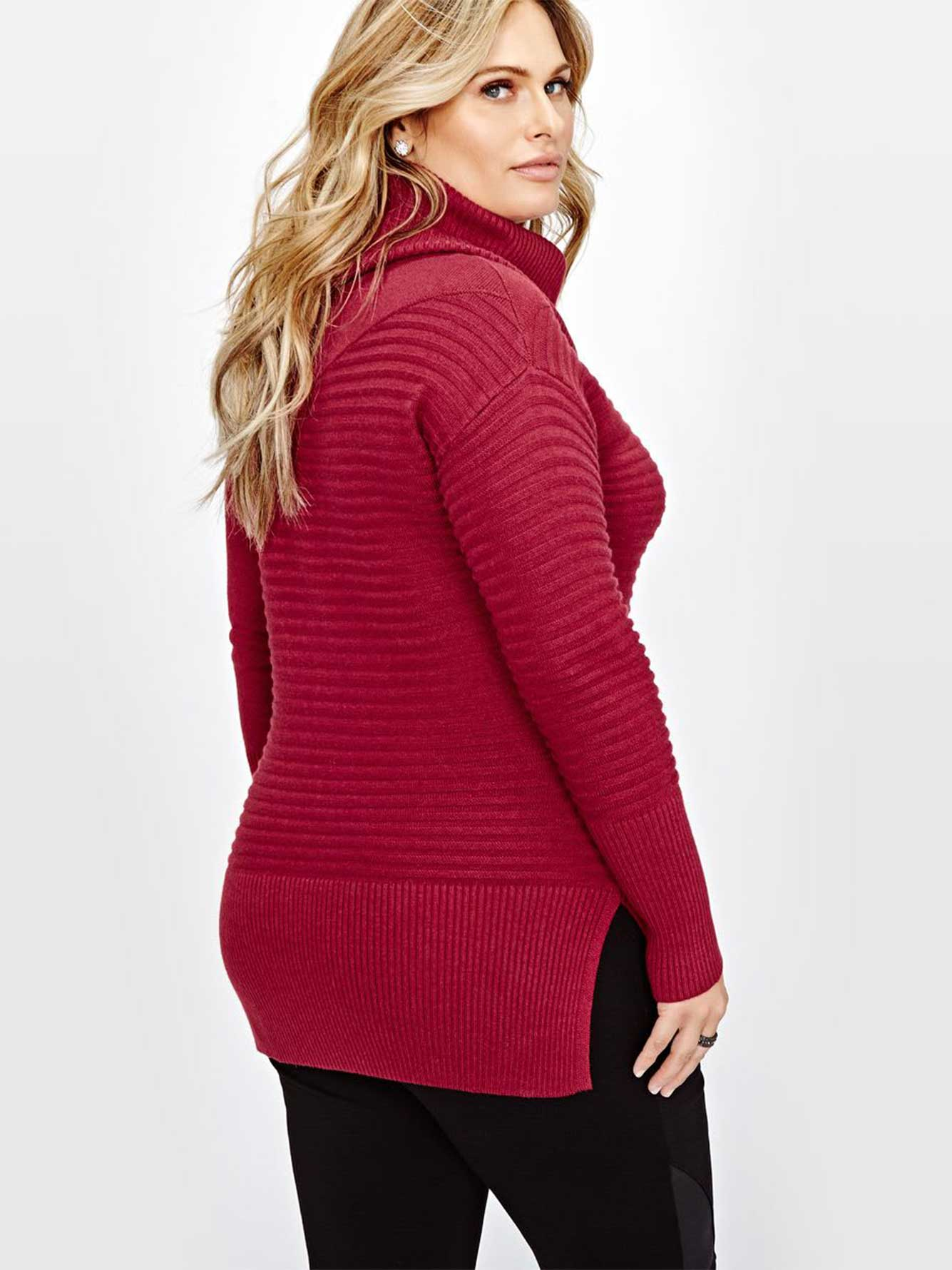 Michel Studio Cowl Neck Ribbed Sweater | Addition Elle