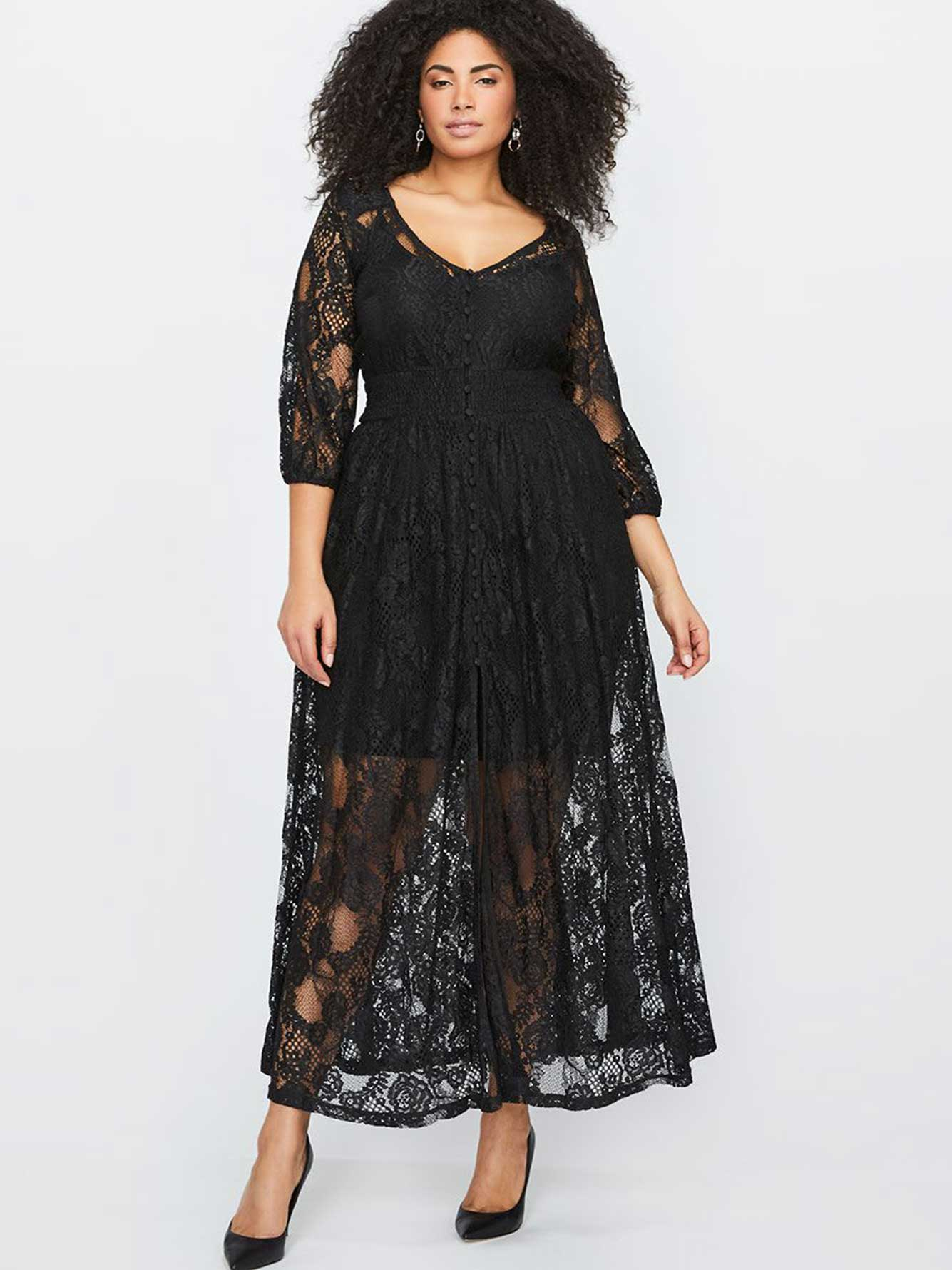 City chic black lace dress