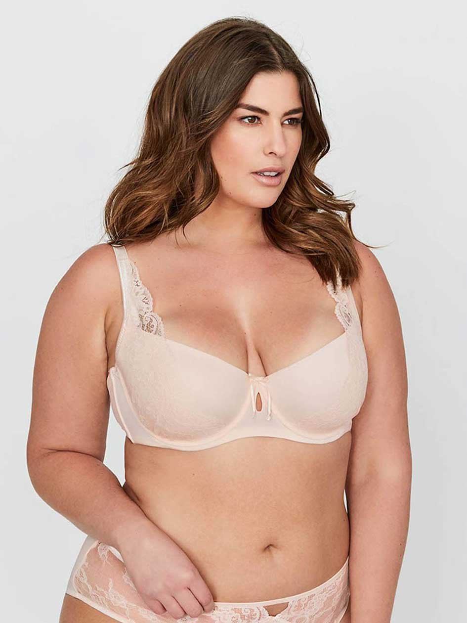 Ashley Graham Micro Fiber and Lace Diva Demi Cup Bra.Soft Pink.44DD 30594493