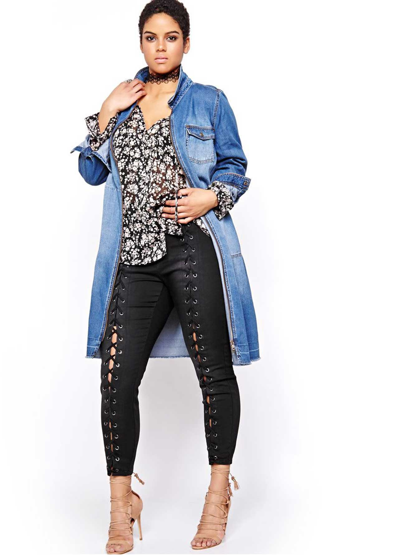 Robe chemise en jean dentelle