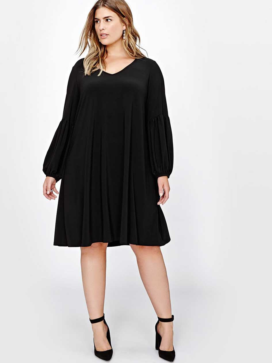 Plus Size Vintage Dresses, Plus Size Retro Dresses Tiana B Swing Dress $120.00 AT vintagedancer.com
