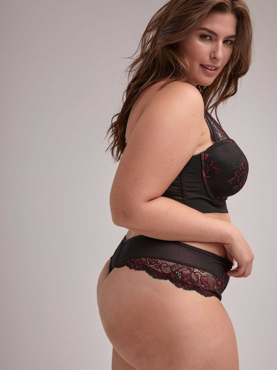 Microfiber and Red Lace Thong - Ashley Graham