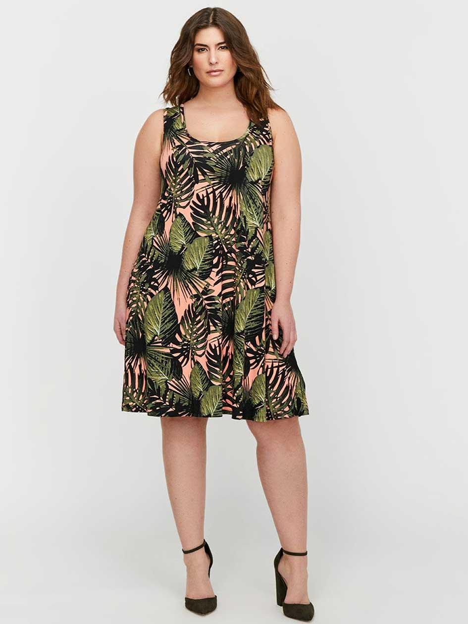 L&L Short Printed Tank Dress with Back Crochet Details