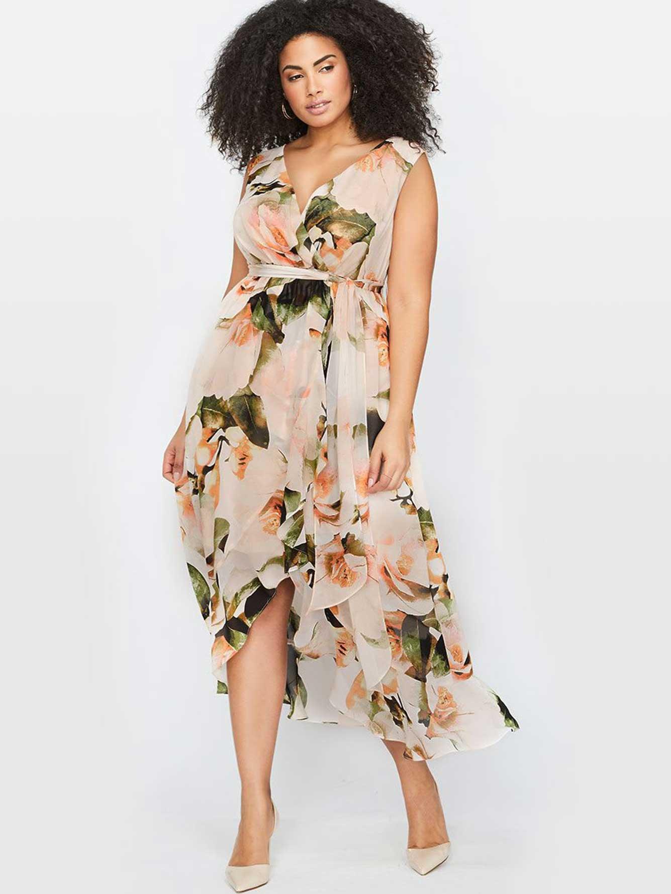 d489a107436 Floral Wrap Maxi Dress Plus Size - Gomes Weine AG