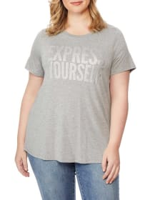 Graphic Tee with Heart Print - Rebel Wilson