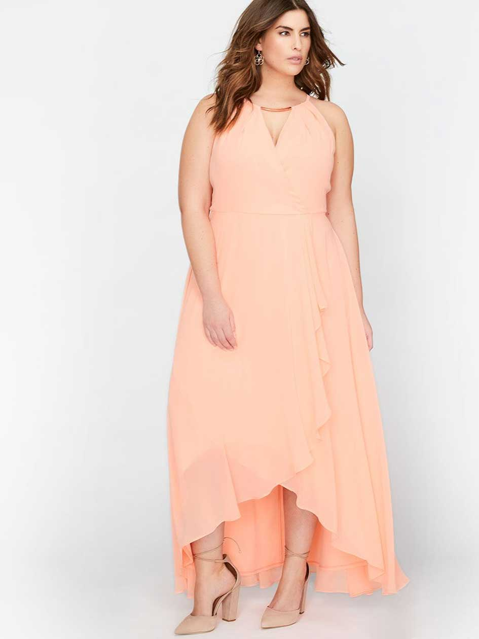 Michel Studio Maxi Wrap Fit & Flare Party Dress
