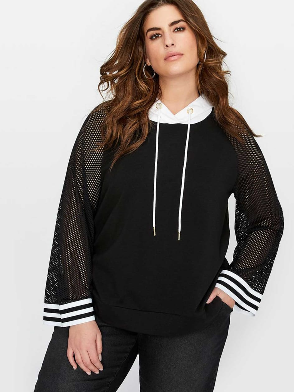 Nola x Jordyn Woods Hooded Sweater With Fishnet Sleeve