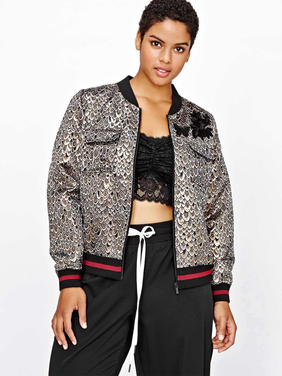 L&L Bomber Jacket with floral patch