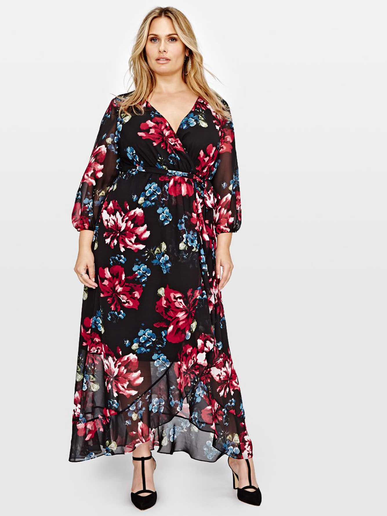 cec82c144a2 Michel Studio Sangria 3 4 Sleeve Wrap Printed Maxi Dress