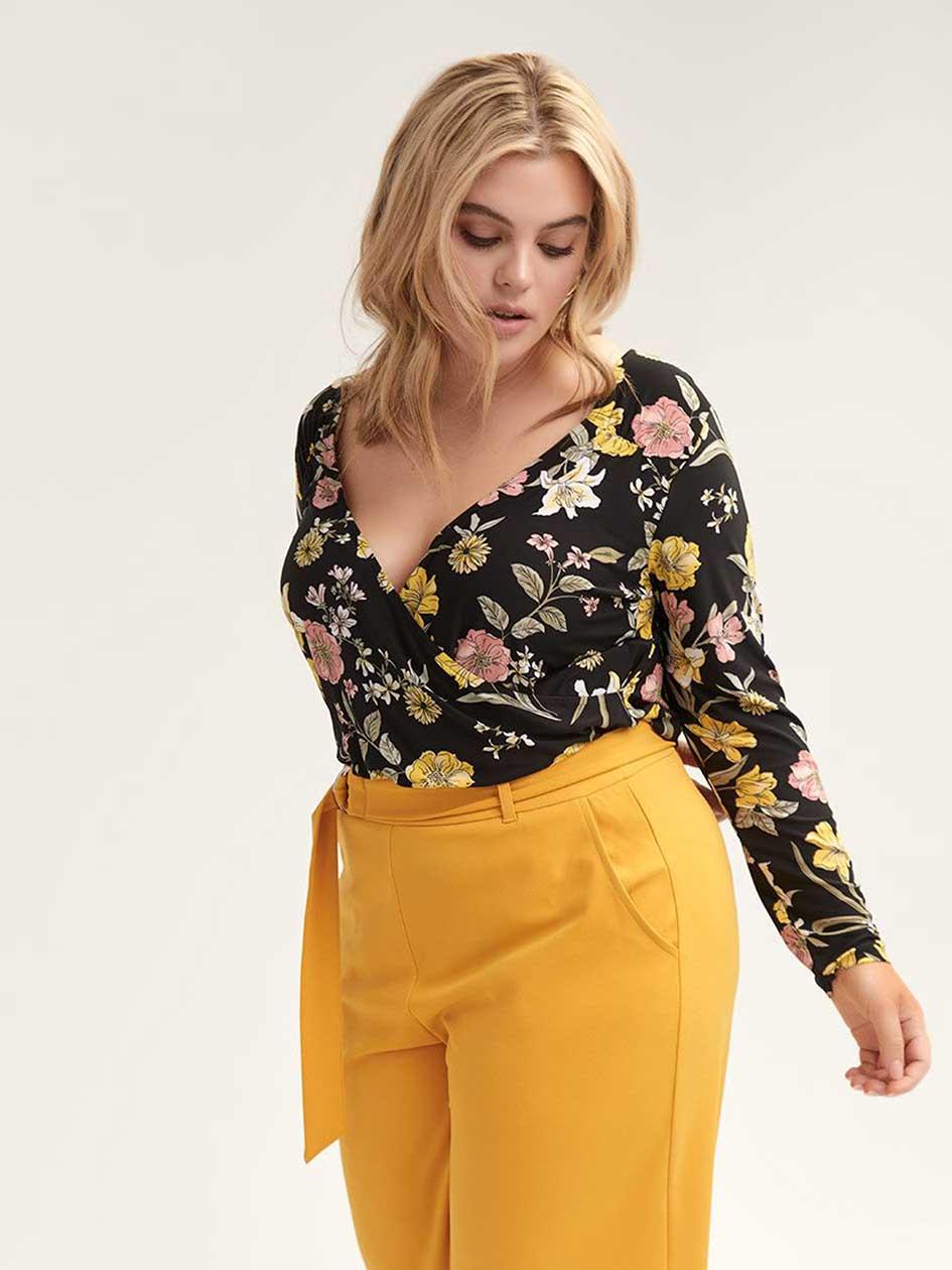 4fd574fde55 Floral Surplice Bodysuit - L L