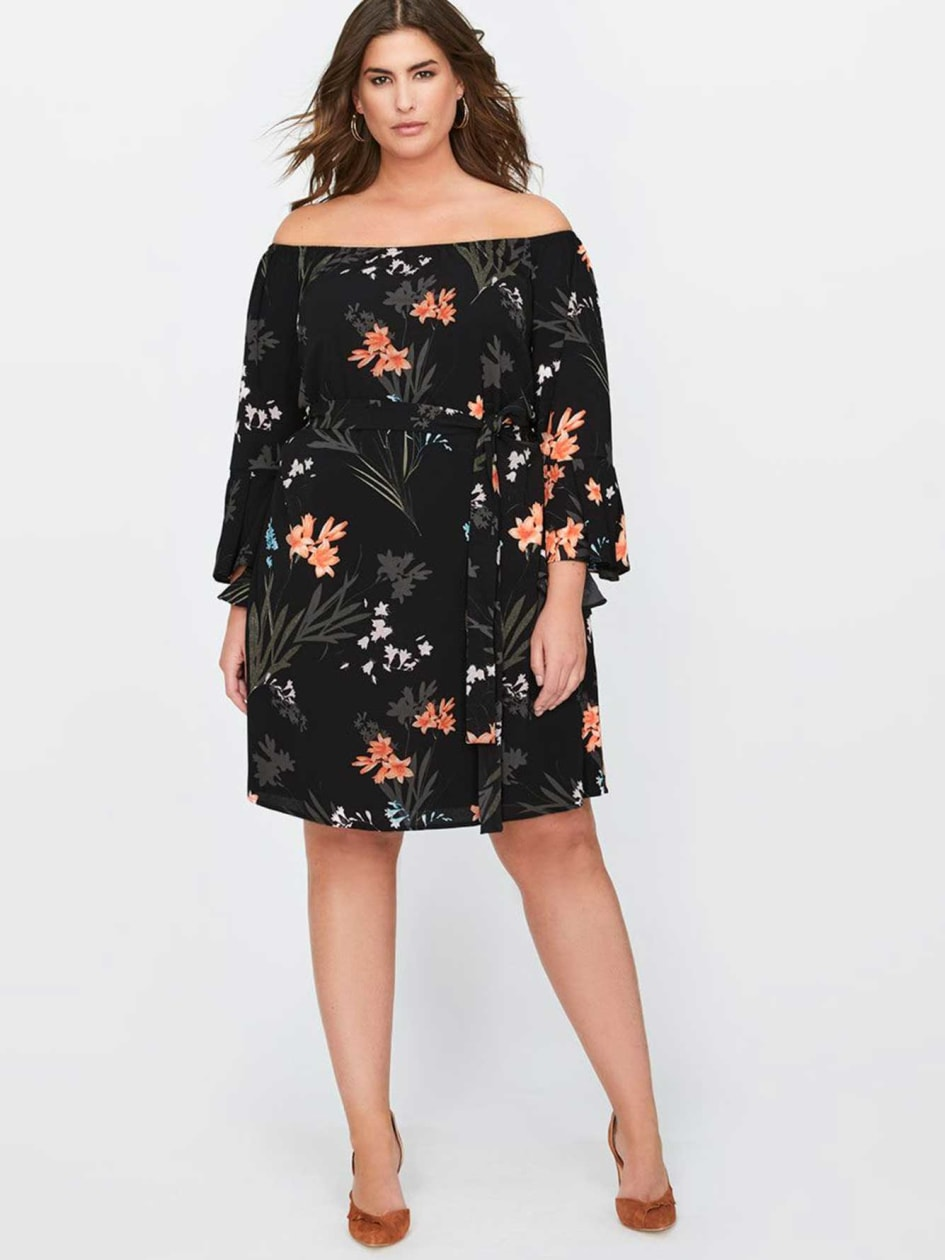 City Chic Off-the-Shoulder Floral Print Tunic
