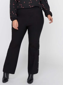 Iconic Pull-On Flare Leg Stretch Pant with Snap Details - Michel Studio