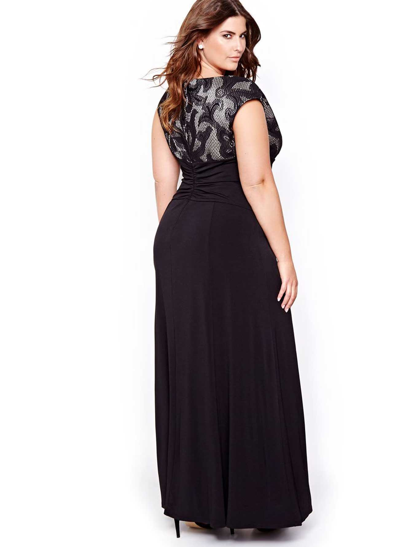 Evening Gown with Contrasting Lace   Addition Elle