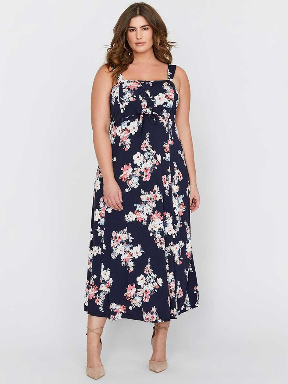 Michel Studio Printed Maxi Dress with Lace-up & Eyelet