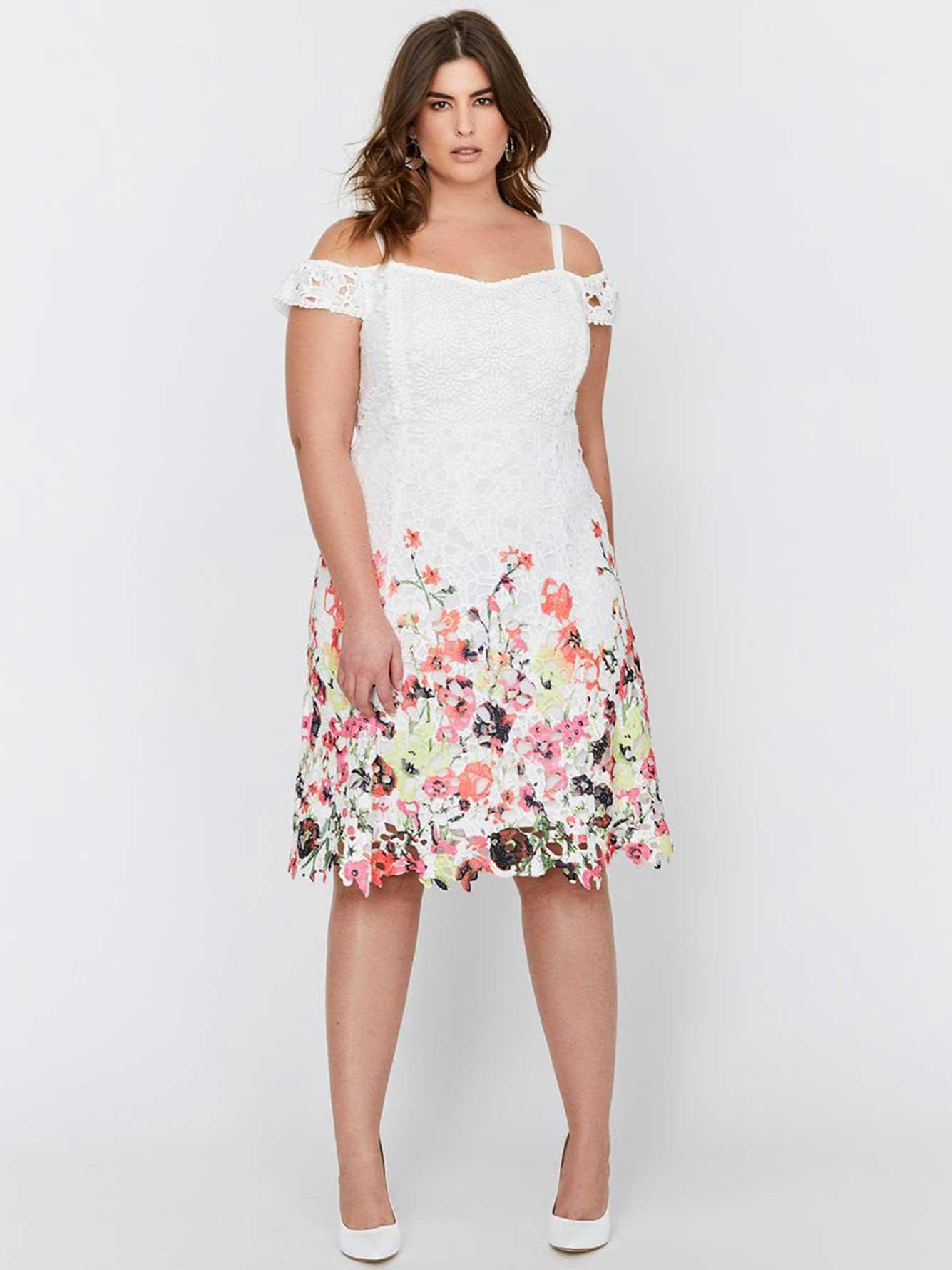 Michel Studio Sleeveless Fit & Flare Printed Crochet Dress   Addition ...