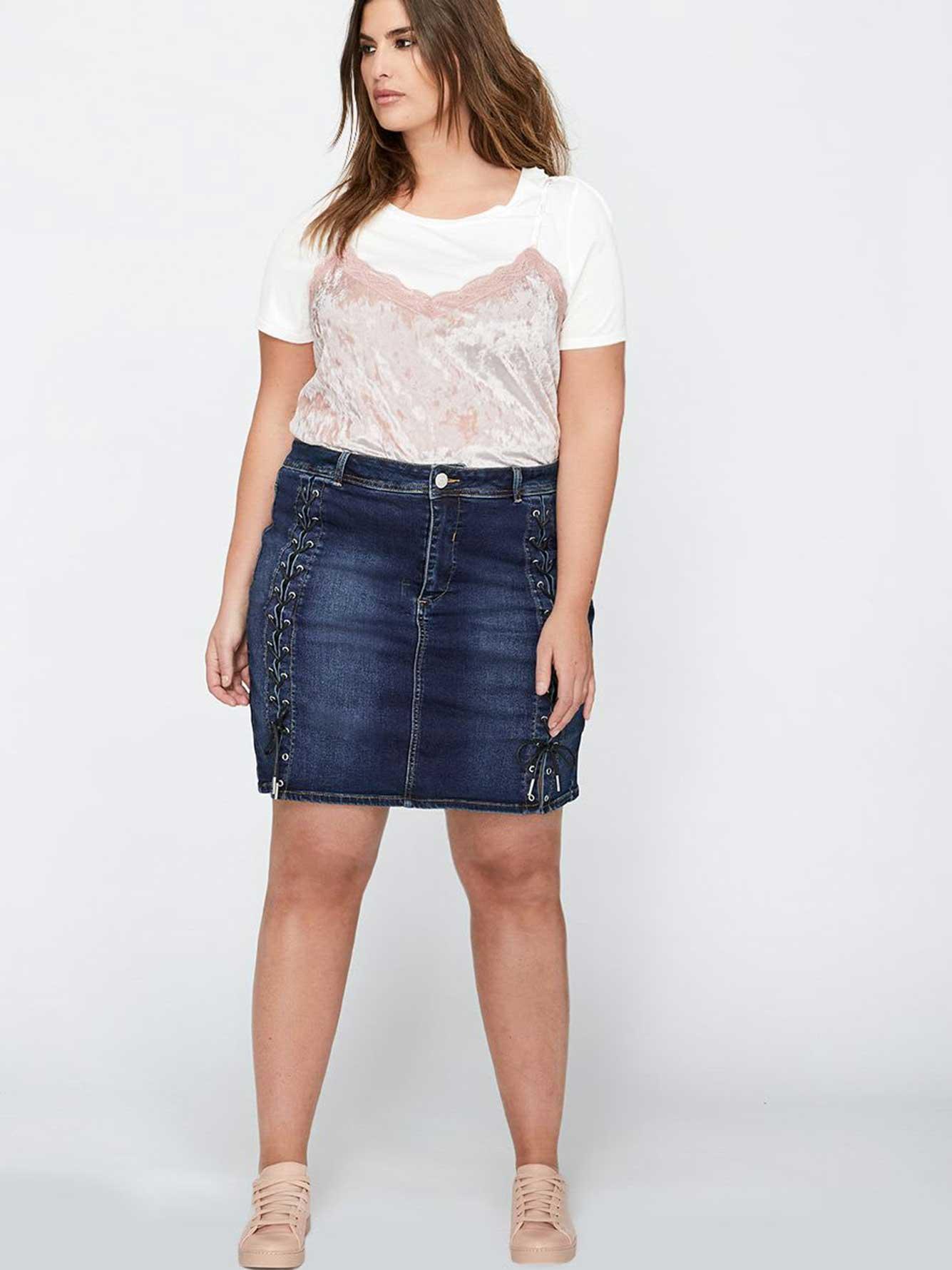 91df8cc95 L&L Lace-Up Jean Skort | Addition Elle