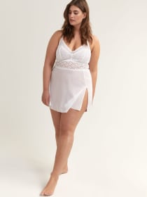 Mesh Babydoll with Lace - Ashley Graham