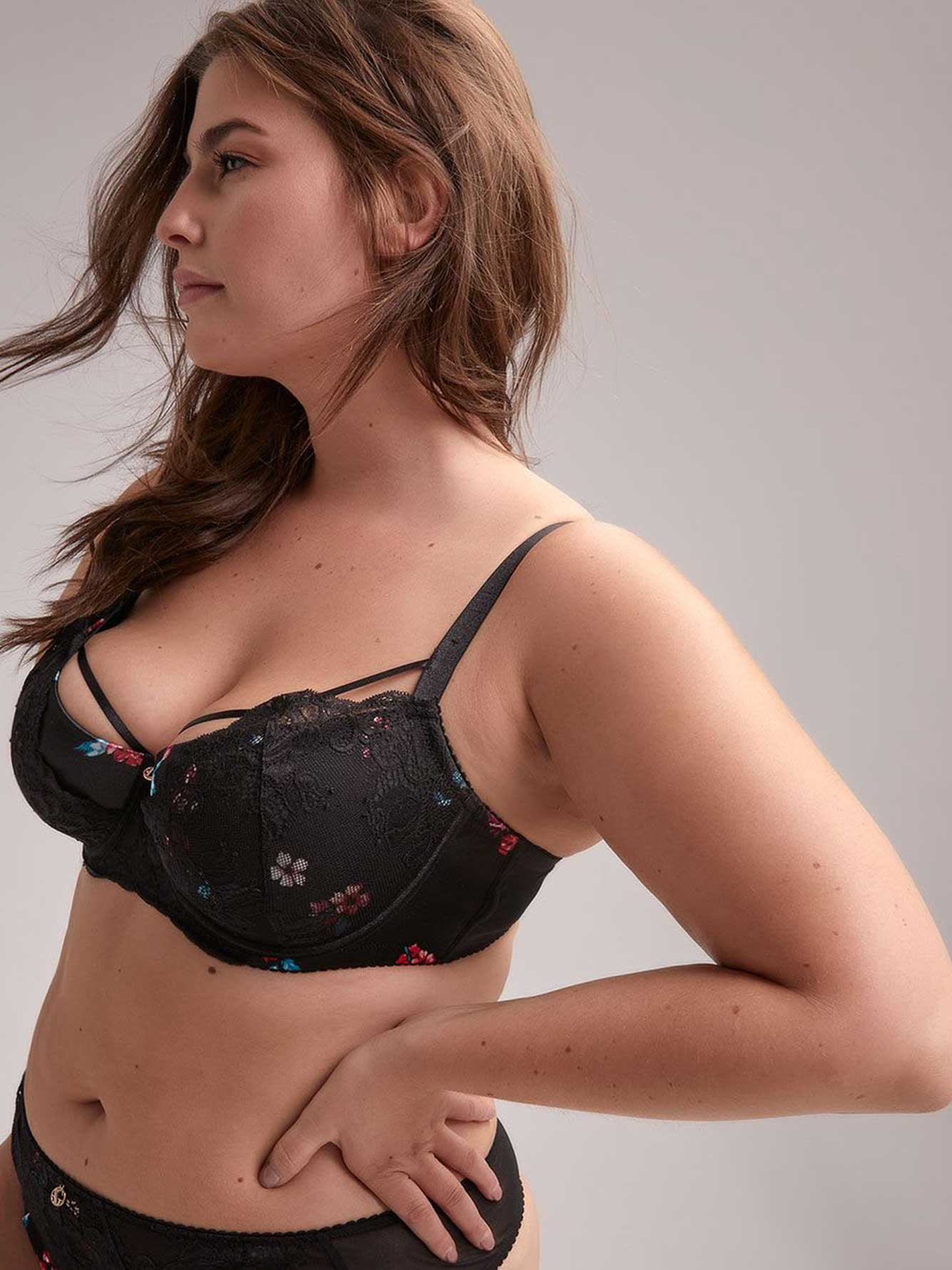 Printed Diva Demi Cup Bra with Lace - Ashley Graham