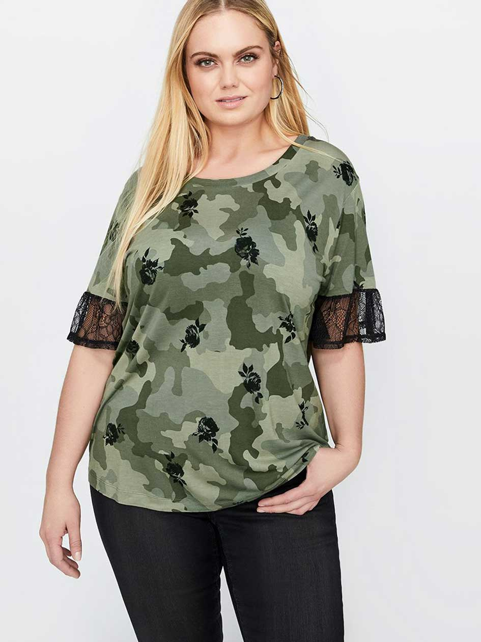 L&L Printed Tee with Lace