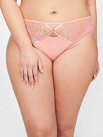 Ashley Graham Thong Panty with Lace & Stripes