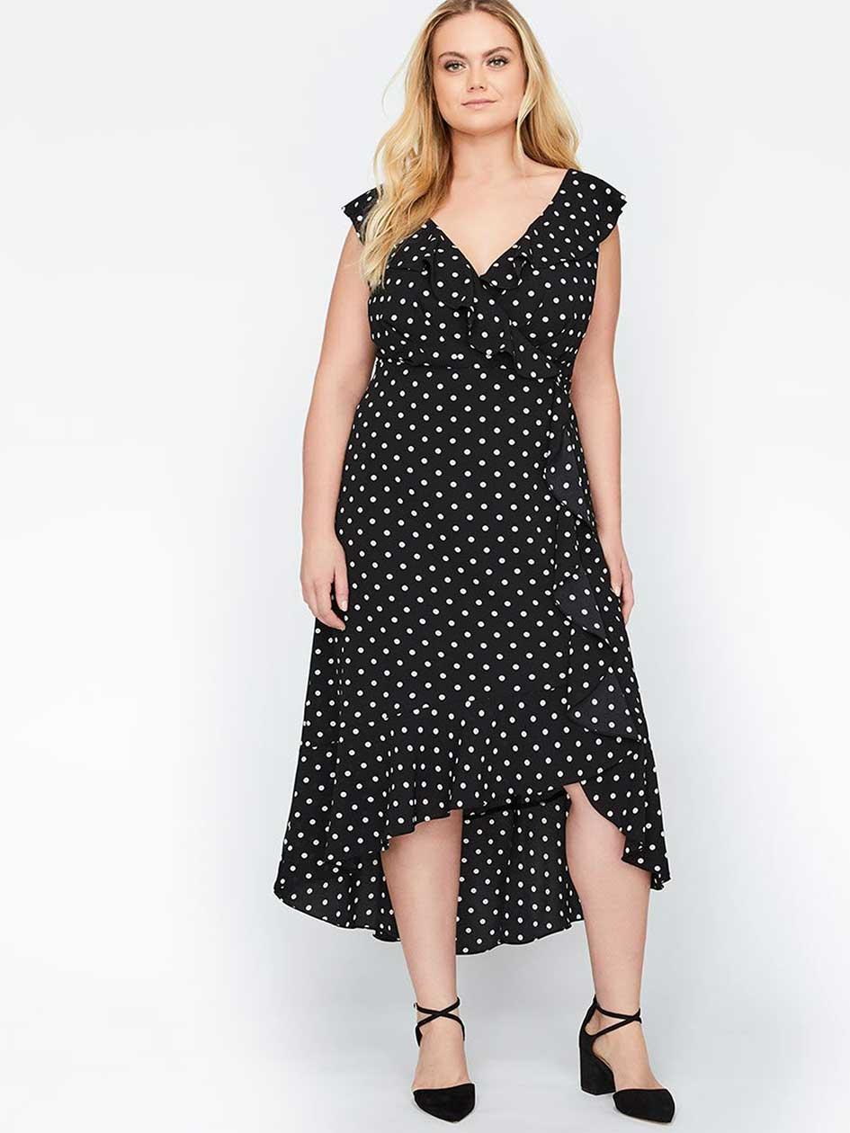 Sangria Wrap Dots Dress