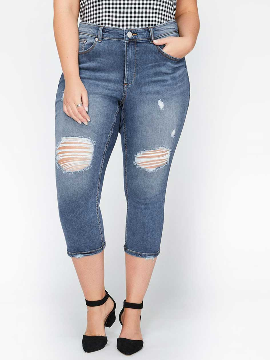L&L Super Soft Cropped Jegging with Ripped Details
