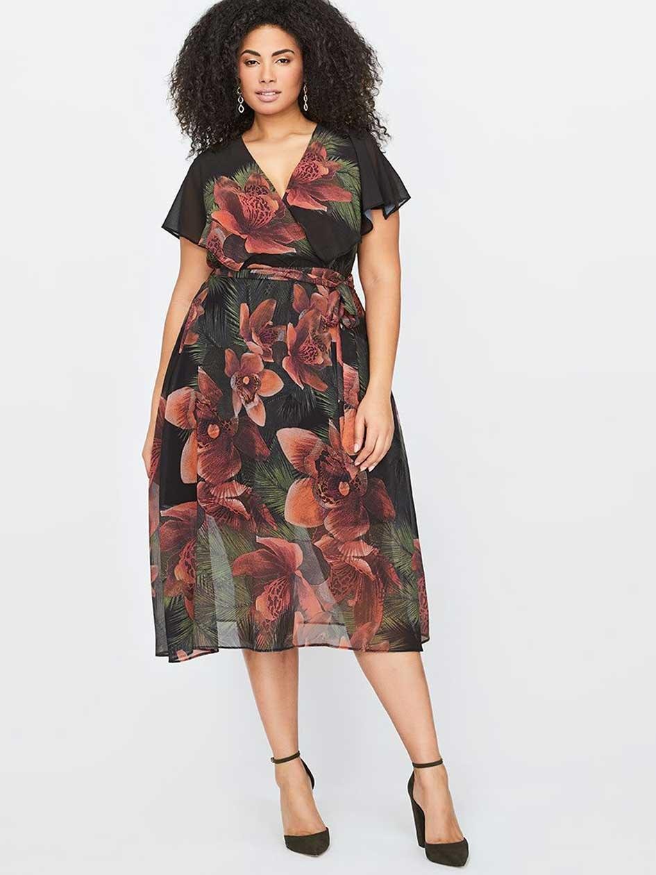 City Chic Midi Tropical Flower Dress
