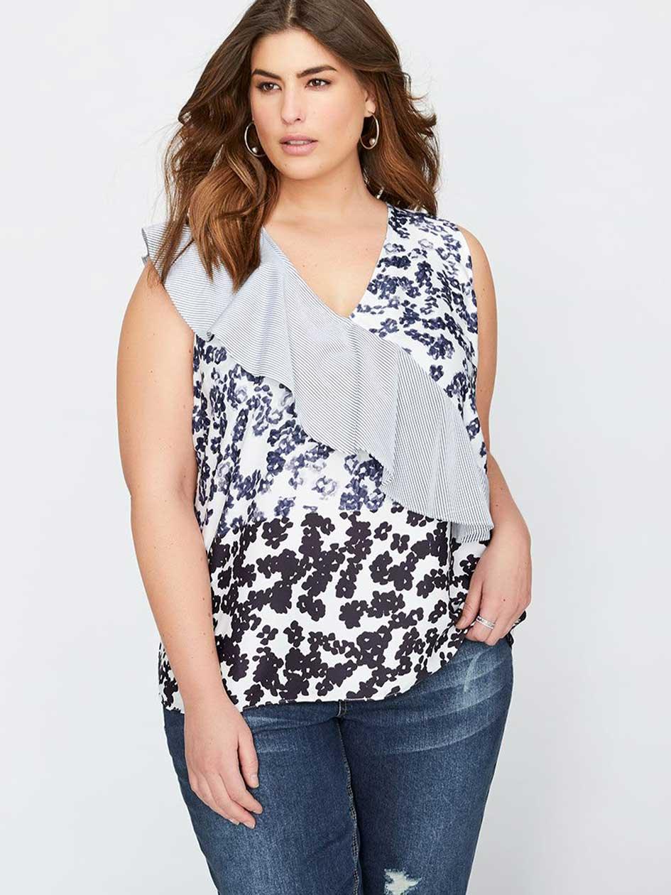 Rachel Roy Printed Sleeveless Top with Diagonal Ruffle Sash