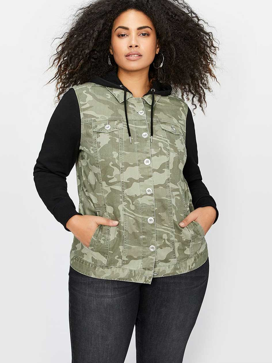 L&L Camo Jacket with French Terry Hood & Sleeves
