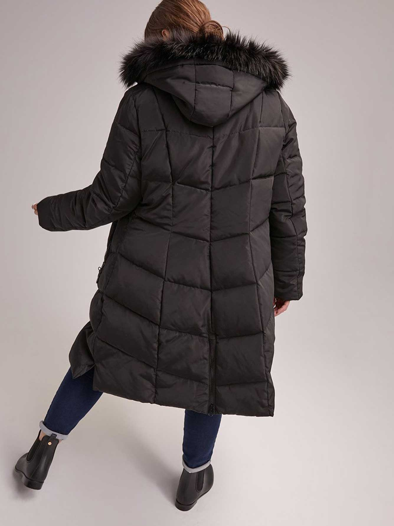 f2e40ea1722 Hooded Long Puffer Coat with Removable Faux Fur Trim - Livik ...