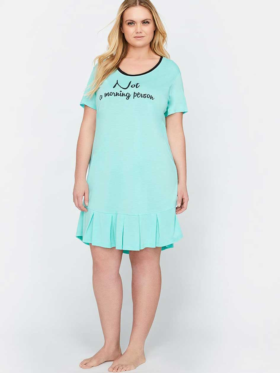 Short Sleeve Sleep shirt with Frilled Hem