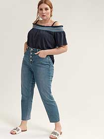 Cold Shoulder Peasant Top - Michel Studio
