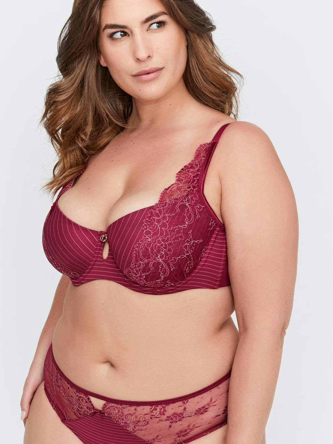 37026f796d Ashley Graham Lace and Stripe Diva Bra
