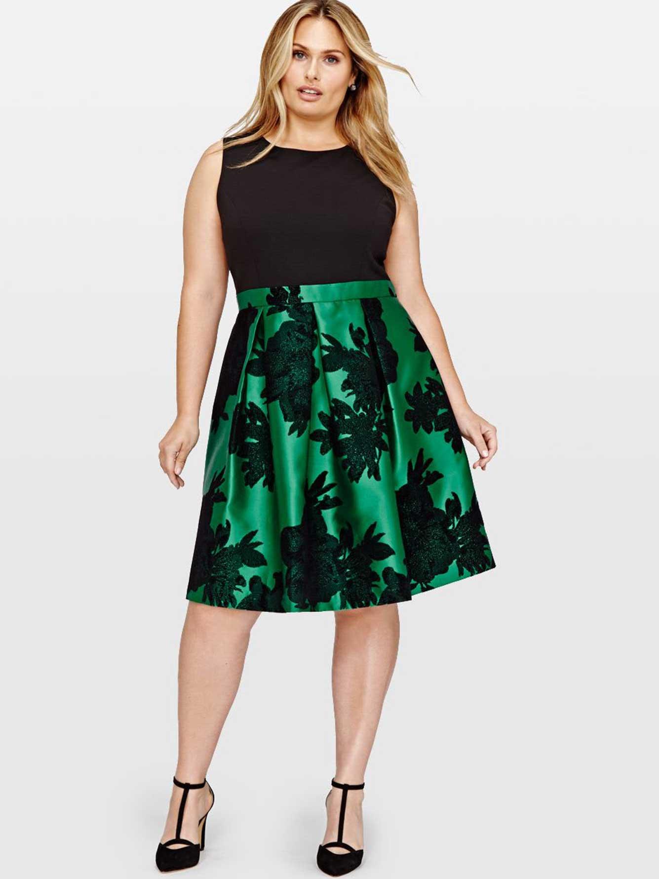 flock dress with taffeta skirt addition elle. Black Bedroom Furniture Sets. Home Design Ideas