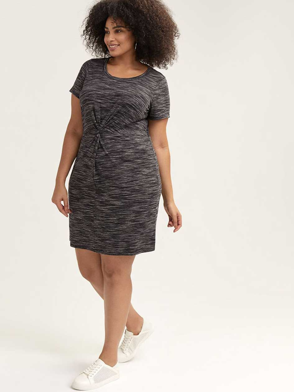 c30a8751526 Ribbed Dress with Front Twist - Michel Studio