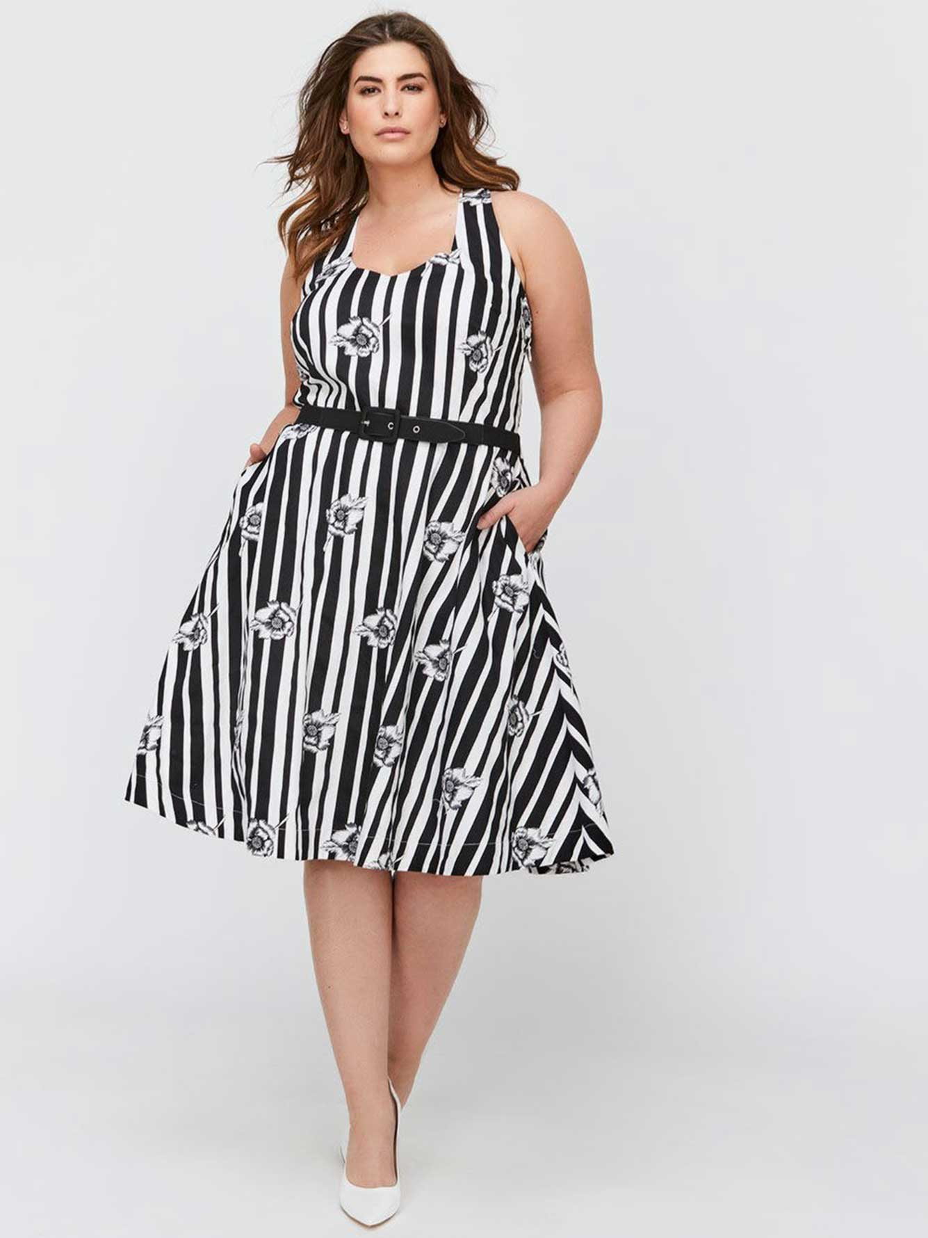 a81e6e4c1b City Chic Fit   Flare Stripes   Flowers Dress