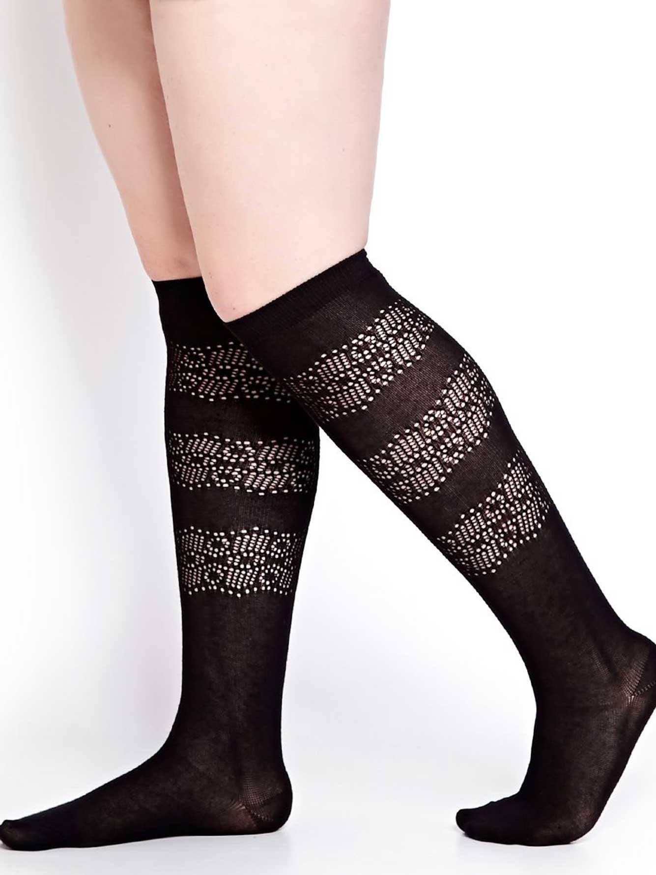 fa5a6edf9 Lace Stripe Over-The-Knee Sock