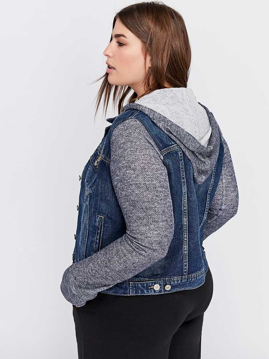 Jean Jacket with Knit Sleeves and Hood - Silver