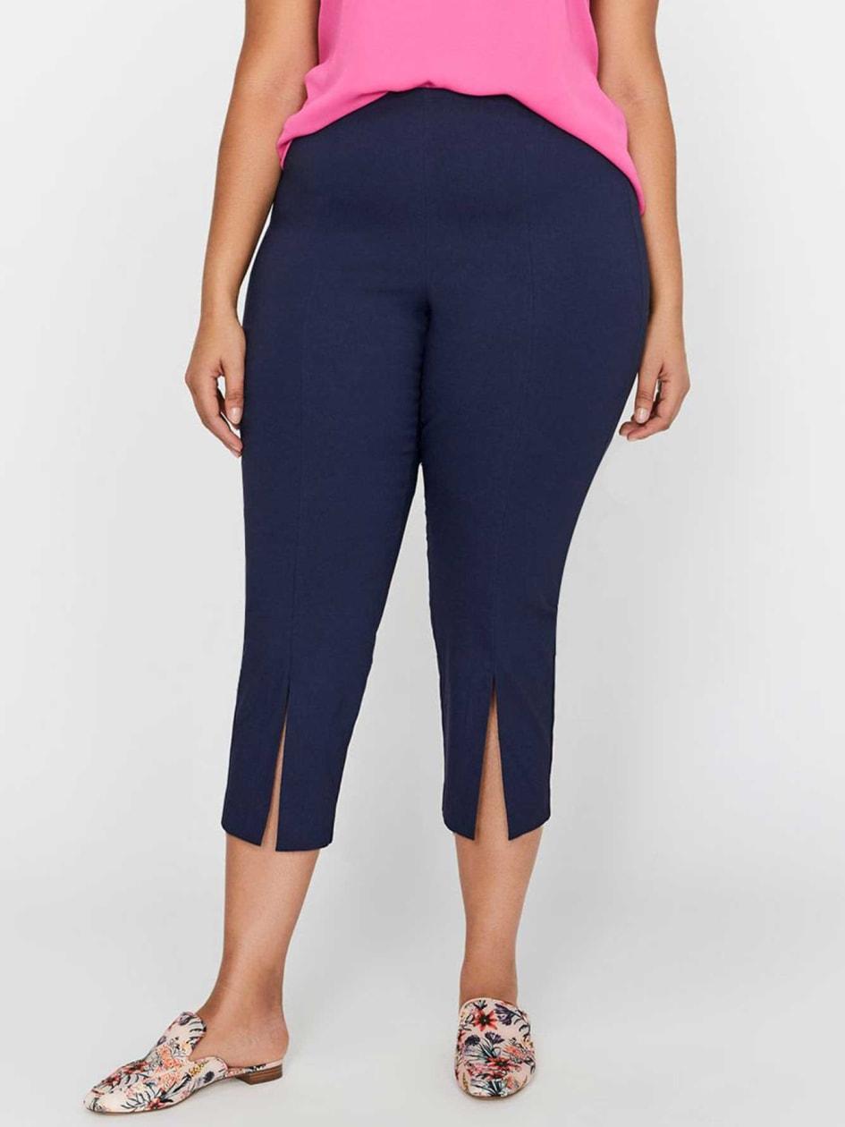 Michel Studio Pull-On Capri Pants with Front Slits