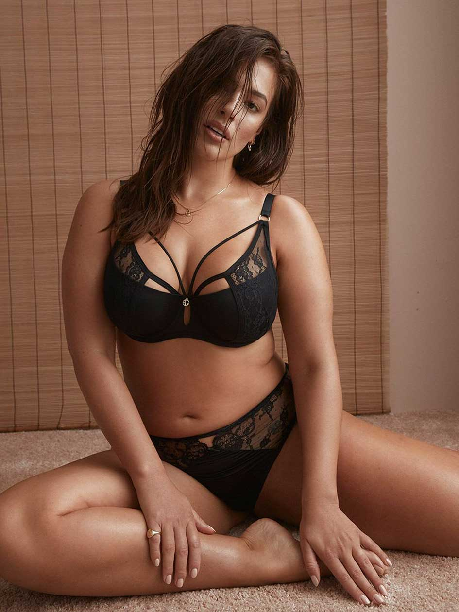 Micro Jersey Demi Cup Diva Bra with Lace - Ashley Graham